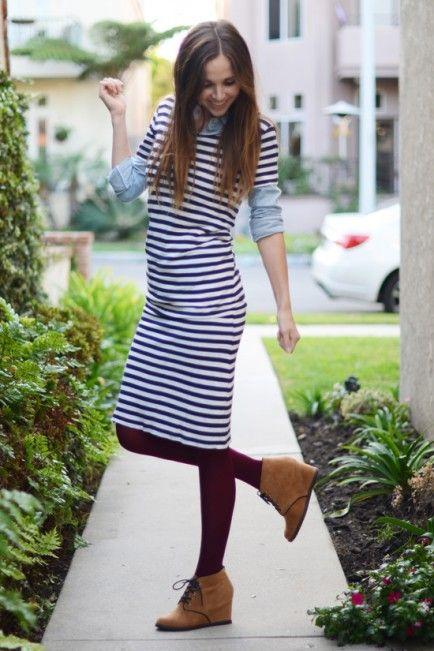 Полосатая платья с чем носить